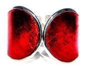 Red Metallic Leather Silver Capped Cuff Bracelet - by UNEARTHED