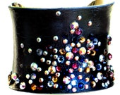Navy Blue Metallic Leather and Swarovski Crystal Silver Cuff Bracelet - SPECIAL EDITION