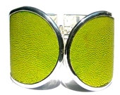 Acid Green Genuine Stingray Silver Capped Cuff Bracelet - LIMITED EDITION