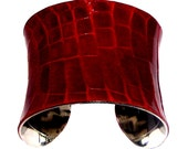 Crimson Red Glazed Alligator Cuff Bracelet