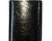Black Genuine Ostrich Leather Flask  - by UNEARTHED