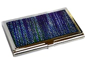 Metallic Blue Streaked Stingray Leather Business Card Case
