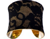 Leather and Black Lace Gold Lined Cuff Bracelet - by UNEARTHED