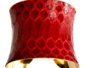 Glossy Red Snakeskin Gold Cuff Bracelet - by UNEARTHED