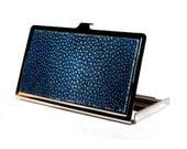 Dark Blue Polished Stingray Business Card Case