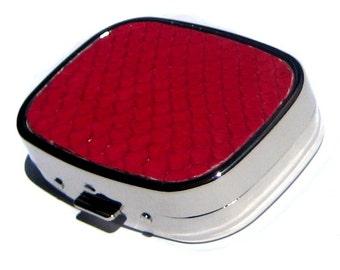 Bright Raspberry Pink Genuine Snakeskin Leather Pillbox