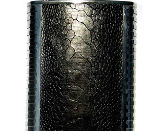 Black Genuine Ostrich Leather Flask 7oz - by UNEARTHED