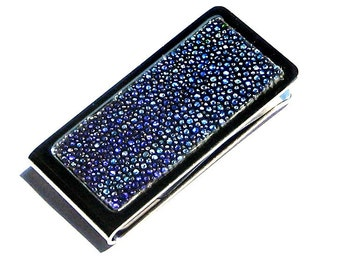 Metallic Blue Streaked Stingray Leather Money Clip - by UNEARTHED