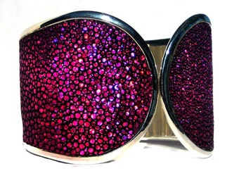 Magenta Metallic Stingray Cuff Bracelet - by UNEARTHED