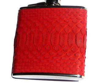 Bright Red Genuine Snakeskin 6oz Flask (Matte Finish) - by UNEARTHED