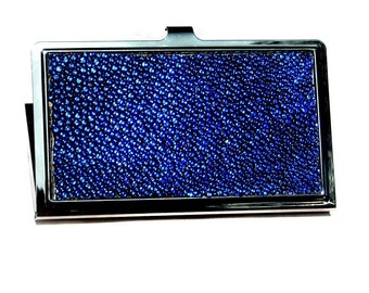 Sapphire Blue Metallic Stingray Leather Business Card Case