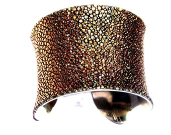 Metallic Gold Stingray Leather Cuff Bracelet - by UNEARTHED