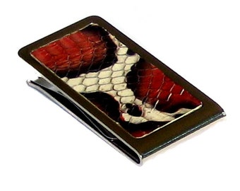 Red, White, and Ivory Snakeskin Money Clip - by UNEARTHED