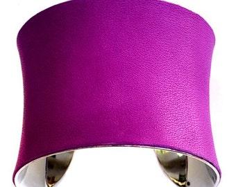 Dark Magenta Leather Cuff Bracelet - by UNEARTHED