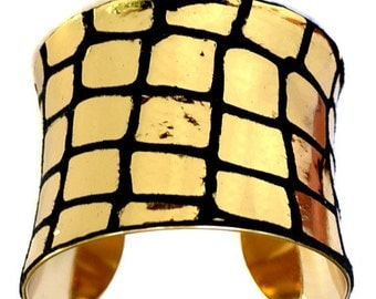 Metallic Gold Mirrorball Leather Gold Lined Cuff - by UNEARTHED