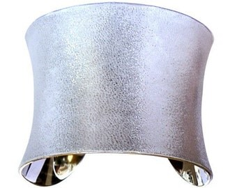 Metallic Platinum Silver Leather Cuff Bracelet - by UNEARTHED