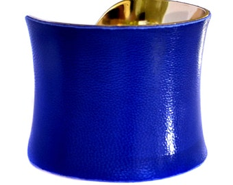 Cobalt Blue Lambskin Leather Gold Lined Cuff Bracelet - by UNEARTHED