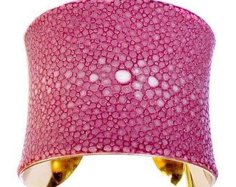 Pink Polished Stingray Cuff  Bracelet (CENTER CUT) - by UNEARTHED