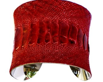 Blood Red Ostrich Leather Silver Lined Cuff Bracelet - by UNEARTHED