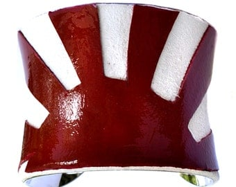 Japanese Rising Sun Flag - Patent Leather and Suede Silver Lined Cuff