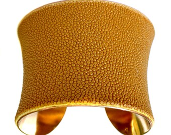 Mustard Yellow Stingray Gold Lined Cuff Bracelet - by UNEARTHED