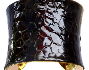 Brown Tortoise Shell Patent Leather Gold Lined Cuff Bracelet - by UNEARTHED