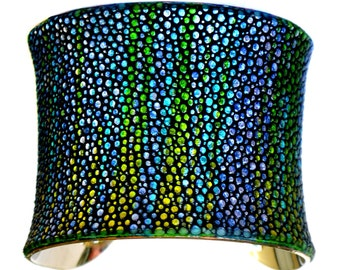 Metallic Yellow Streaked Stingray Silver Lined Cuff Bracelet - by UNEARTHED