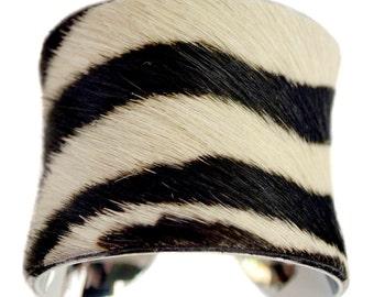 Zebra Striped Pony Hair Cuff Bracelet - by UNEARTHED