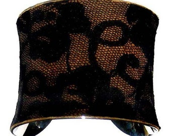Leather and Black Lace Cuff Bracelet - by UNEARTHED