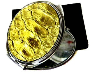 Bright Foil Gold Metallic Snakeskin Compact Mirror - by UNEARTHED
