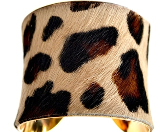 Leopard Print Calf Hair Cuff Bracelet - by UNEARTHED