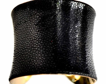 Black Polished Stingray Gold Lined Cuff Bracelet - by UNEARTHED
