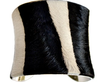 Black and White Striped Calf Hair Cuff Bracelet - by UNEARTHED