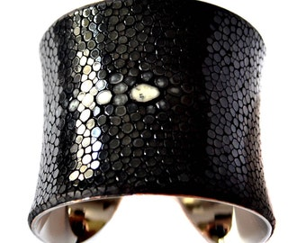 Black Polished Stingray Center Cut Cuff Bracelet - by UNEARTHED