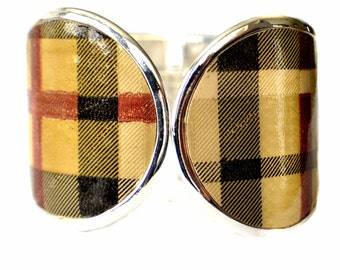 Vintage Plaid Patent Leather Capped Cuff Bracelet  - by UNEARTHED