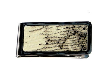 Black and White Lizard Leather Money Clip