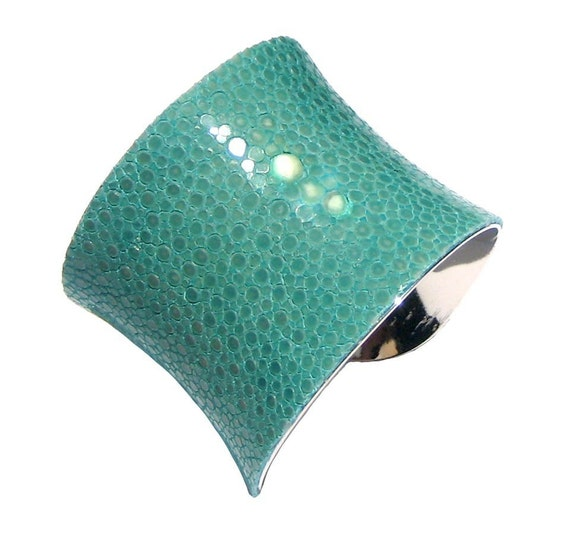 Polished Stingray Silver Lined Cuff in Aqua (Center Cut) - by UNEARTHED