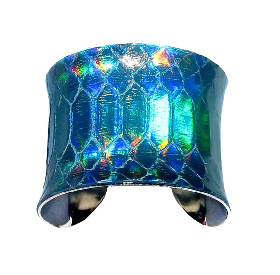 RESERVED**Snakeskin Cuff Bracelet - Silver Lined in Iridescent Blue by UNEARTHED