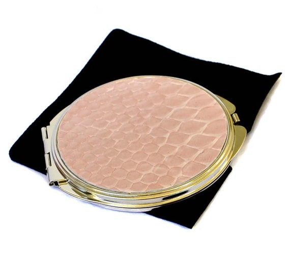 Snakeskin Compact Mirror in Rose Petal Pink - by UNEARTHED
