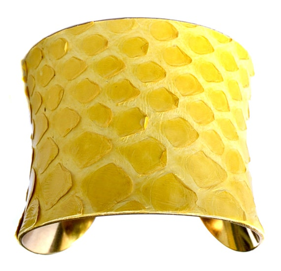 Yellow Snakeskin Gold Lined Cuff Bracelet - by UNEARTHED