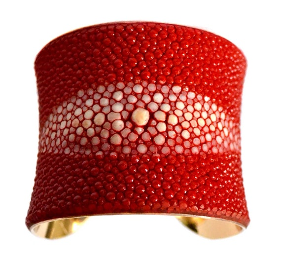 Bright Red Center Cut Stingray Gold Lined Cuff - by UNEARTHED