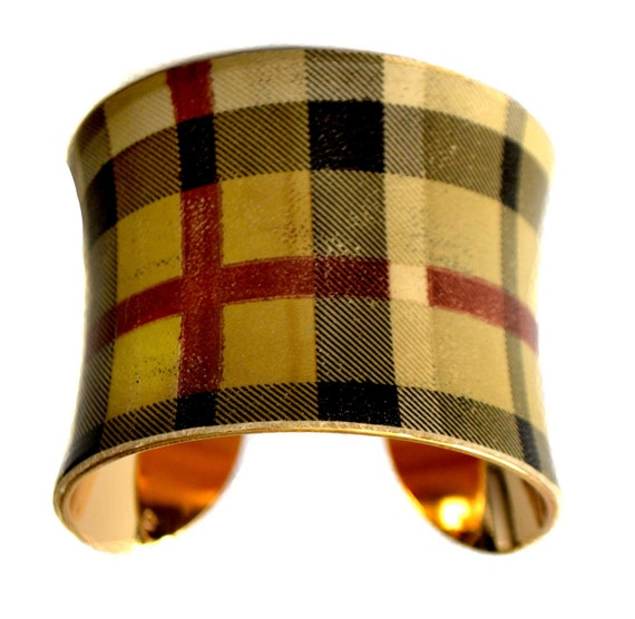 Vintage Plaid Patent Leather Cuff Bracelet (Gold Lined) - by UNEARTHED