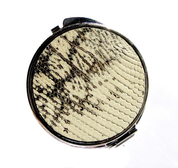 Black and White Lizard Compact Mirror - by UNEARTHED