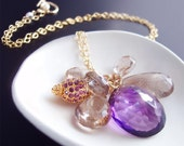 Purple Amethyst Necklace With Golden Rutilated Quartz Charms