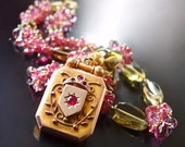 Pink Tourmaline Necklace with Pink Topaz, Whiskey Quartz, & Vintage Romanian Locket
