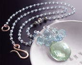 RESERVED for M. - Green Amethyst Necklace with White Topaz, Pyrite, and Fluorite