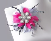 Vintage Rhinestone Brooch with Hot pink, Gray, and Black Feathers