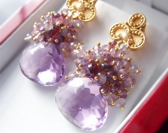 Custom Made to Order - Amethyst Earrings with Opal and Spinel
