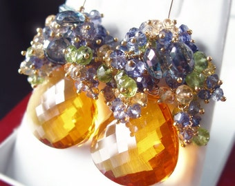 CUSTOM Made to Order - Wildflower Honey Earrings with Citrine, Iolite, Topaz, and Peridot
