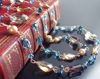 Custom Made to Order - Layering Necklace with Swiss Blue Topaz, London Blue Topaz, Citrine, Quartz, Pearls,